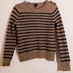J Crew Merino Wood Stripped Sweater W/ Elbows Pads